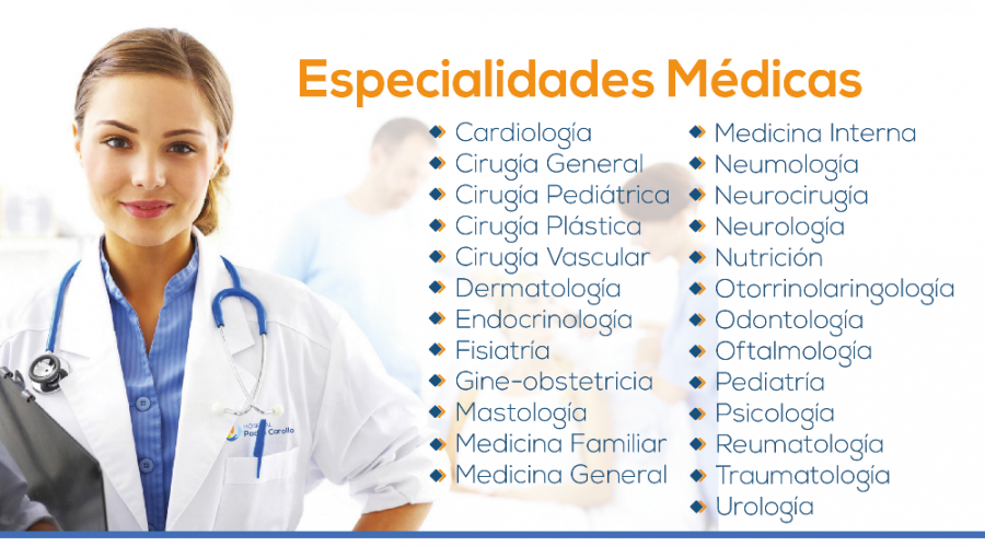 Especialidades Hospital Padre Carollo