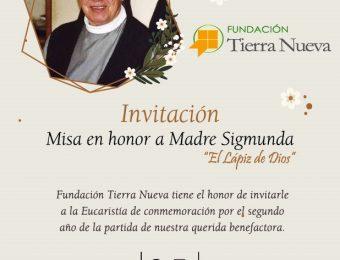 Invitación a Eucaristía en honor al segundo año de partida de Madre Sigmunda Schnetzer